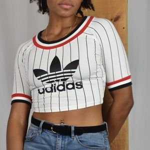 Adidas Med. White Cropped Stripe Baseball T-shirt